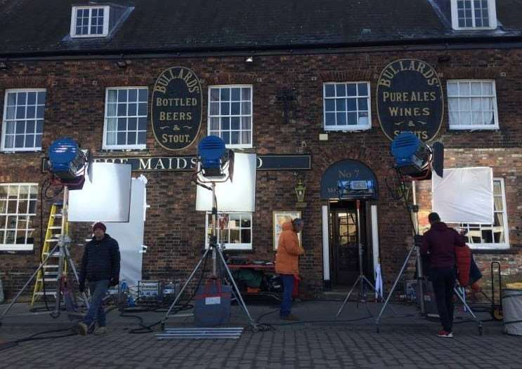 Actor Neil Morrissey was seen outside the Maid's Head in Tuesday Market Place during a break in filming this morning