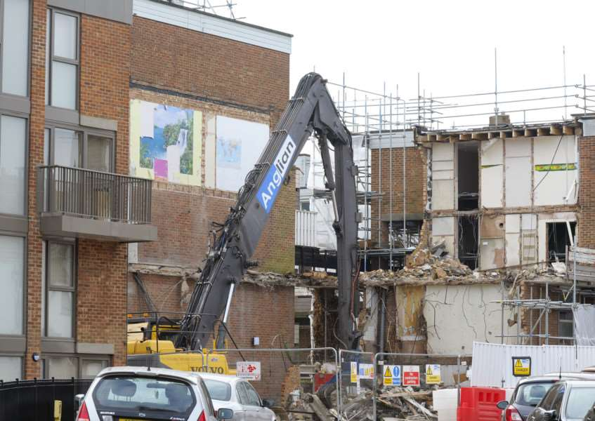 Work continues at Hillington Square, King's Lynn demolition work on the corner of Ladysmith House and Greenland House