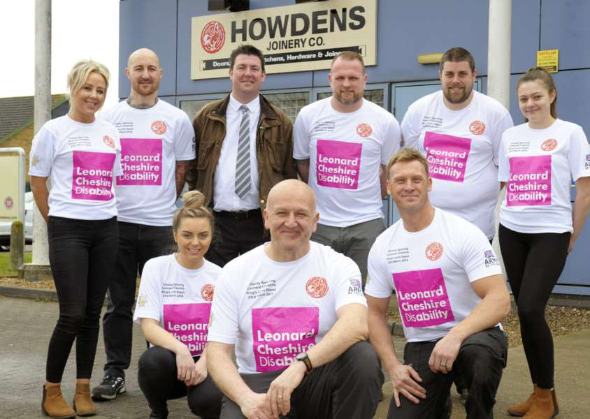 Howdens King's Lynn, employee Andrew Whiting is staging a charity spinning event there on March 23 iao Leonard Cheshire'Staff members (Front LtoR) Ainsley Kirk, Andrew Whiting, Tim Clark'(Back LtoR) Kimmie Evans, Ronnie Blackwell, Andrew Paton, Stuart Moore, Del Odendaal, Tanisha Waters.