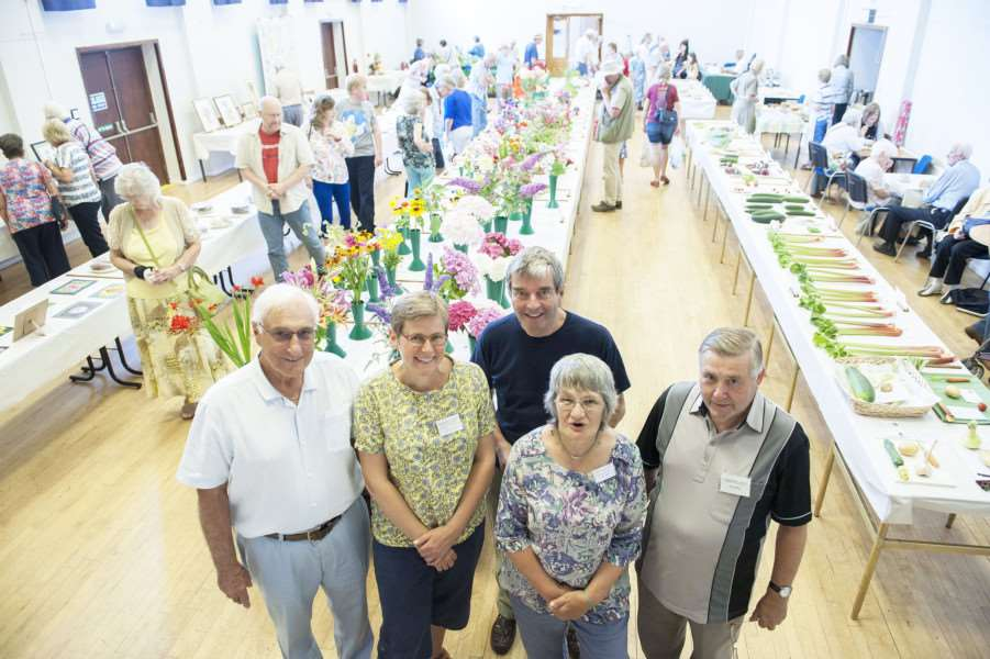 Downham & District Horticultural Society Open Summer Show. Pictured FLtoR Fred Taylor. Sally Stafford. Mike Lodge. Margaret McCutcheon. Eddie Crosley.