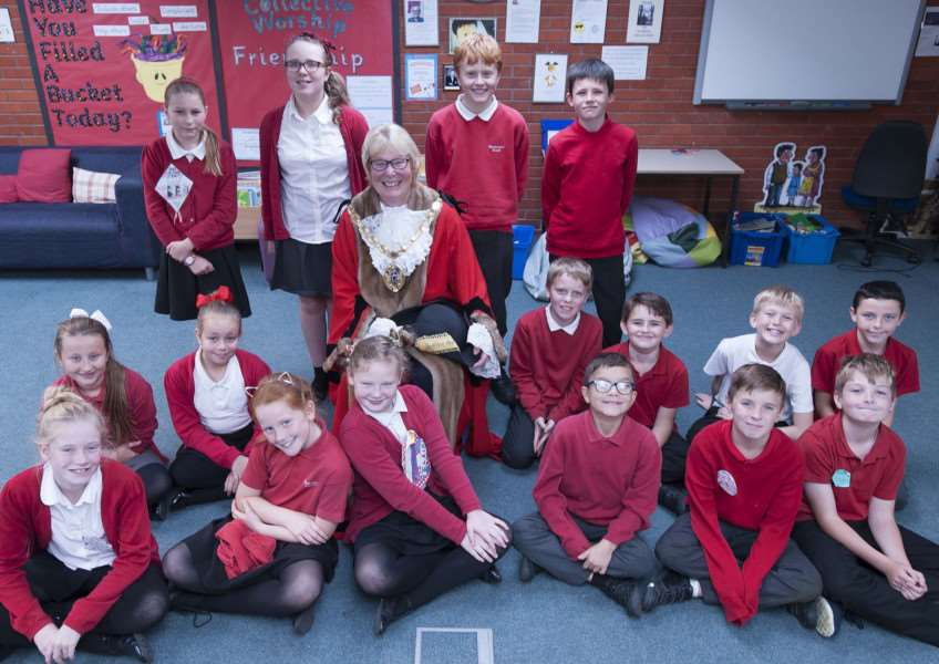 Watlington School Council Elections Pitured centre King's Lynn Mayor Carol Bower with all candidates for the school council elections.