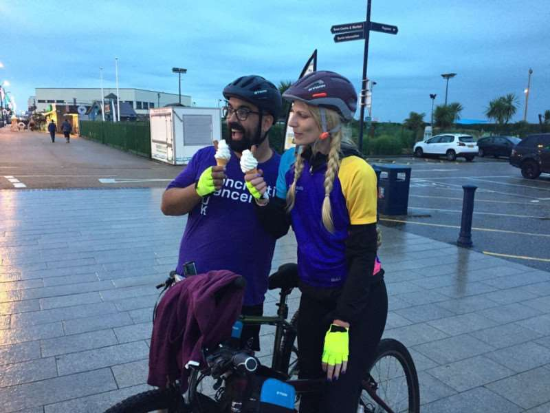Heidi and Stephen Potter after completing their 99 for a 99 cycling challenge. Photo: SUBMITTED.