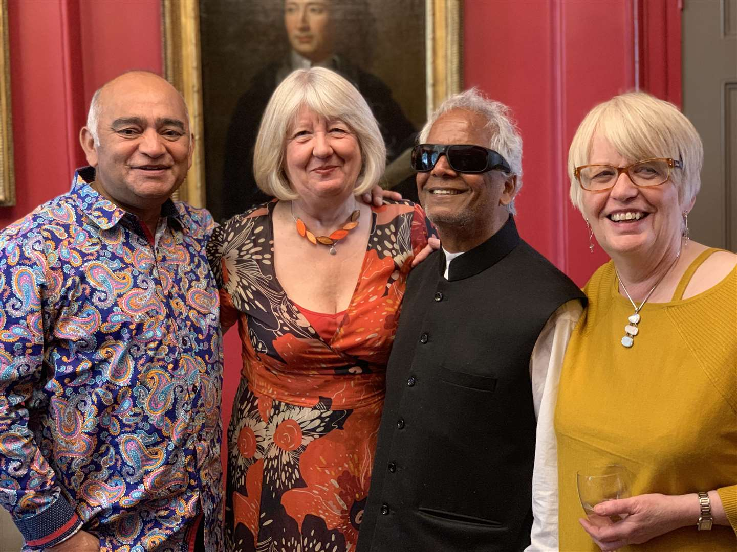Sarah Rodgers, and clarinettist Geraldine Allen with Bhasker Patel and Baluji Shrivastav,at the Roaring Whirl launch event in London last month