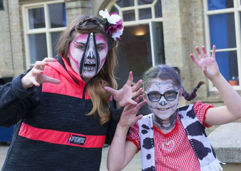 Halloween. Downham Market Town Square. Pictured. Abigail and Daisey Harrod.