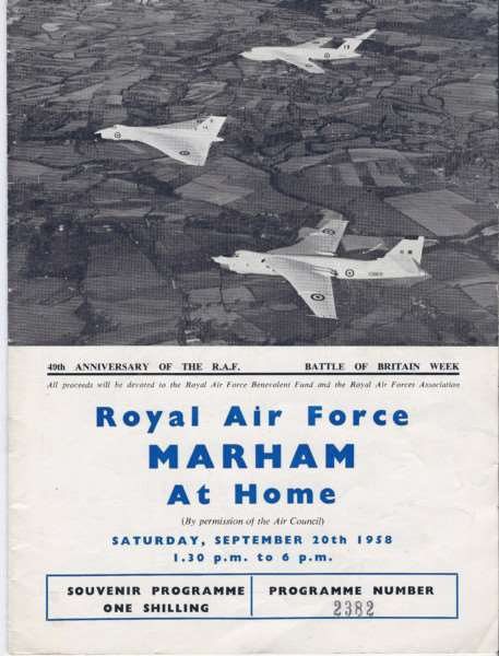"Brochure from an 'At Home' at Marham in 1958 showing off the pride of the V-bomber fleet, as pictured in Aviation Landmarks Norfolk and Suffolk by Peter B. Gunn. Mr Gunn said: ""Marham continues to be one of the most important military bases in the country. It is about to host the revolutionary F-35 Lightning strike fighter which will operate jointly with the RAF and Fleet Air Arm."""