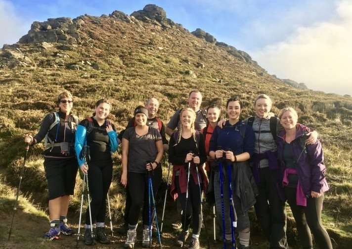 The team from Learning Resources pictured in 2016 during their Peak District Challenge walk.