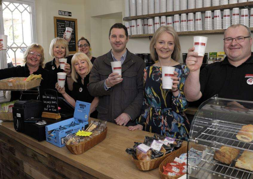 Elizabeth Truss MP opening the New Platform One Cafe at Downham Market Railway Station''LtoR, Beverley Greenhall, Edwina Elliott, Claire Larwood, Jacky Lester, Darren Sutton, Elizabeth Truss MP, Kevin Sewell