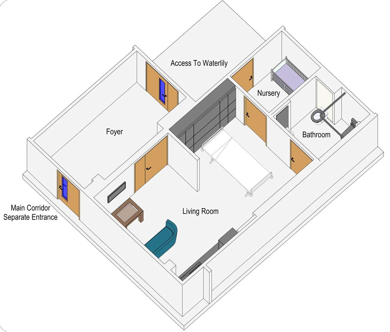 A 3D drawing of what the Maternity Bereavement Suite at the QEH could look like