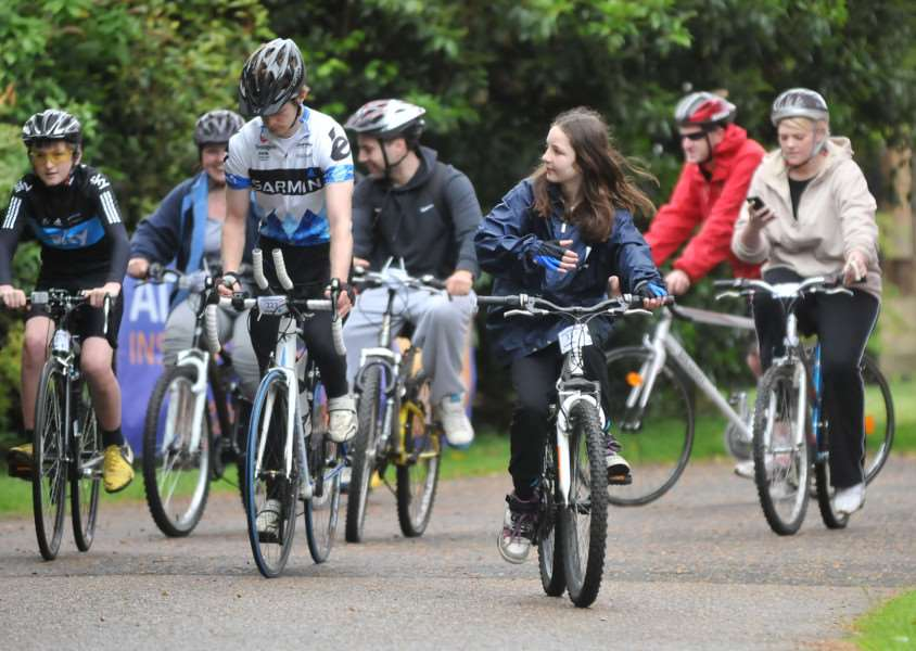 Riders leave Park House on the 'Cycle Together' event.