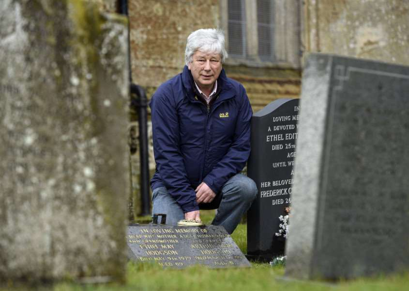 Alan Hodgson at St Clements Church graveyard. Where thieves have stolen two metal crosses from his parents gravestones.