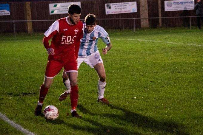 Action from Downham Town against Felixstowe and Walton Reserves. (6365079)