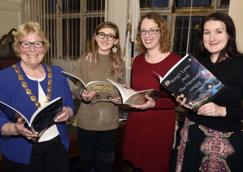 Launch of new History of King's Lynn book left to right Kings Lynn Mayor Carol Bower, Colleen O'Brien, Rebecca Rees and Lindsey Bavin