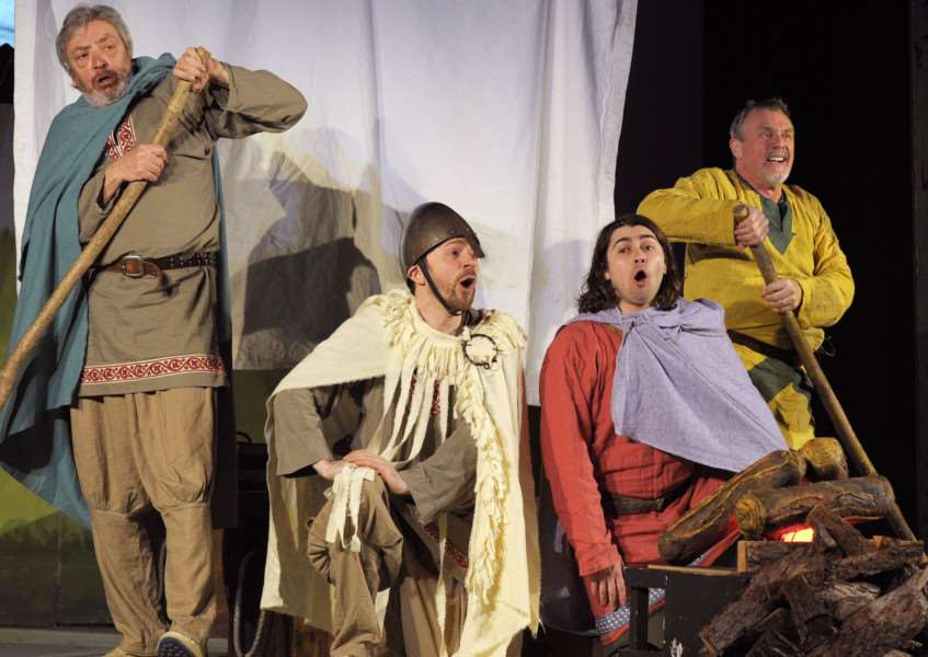 Downham Market Arts Present The Sagas of Noggin The Nog at the Town Hall'The Vikings Cast members Harry Emerson, Kevin James, Clive Holland, Anthony Gleave in action during the performance.
