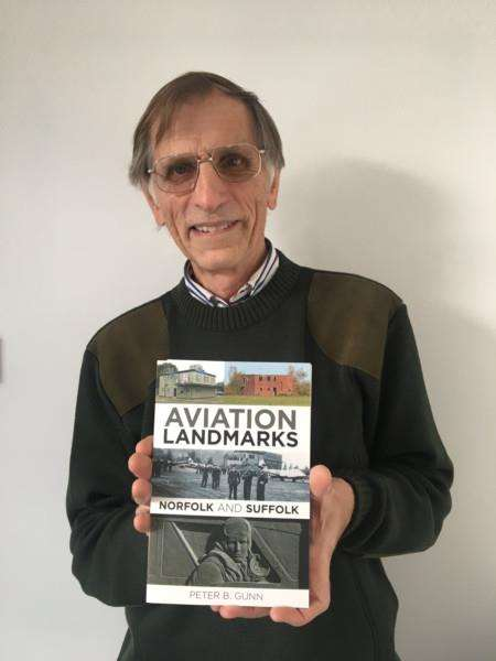 Peter Gunn, from Docking, with his book Aviation Landmarks Norfolk and Suffolk.