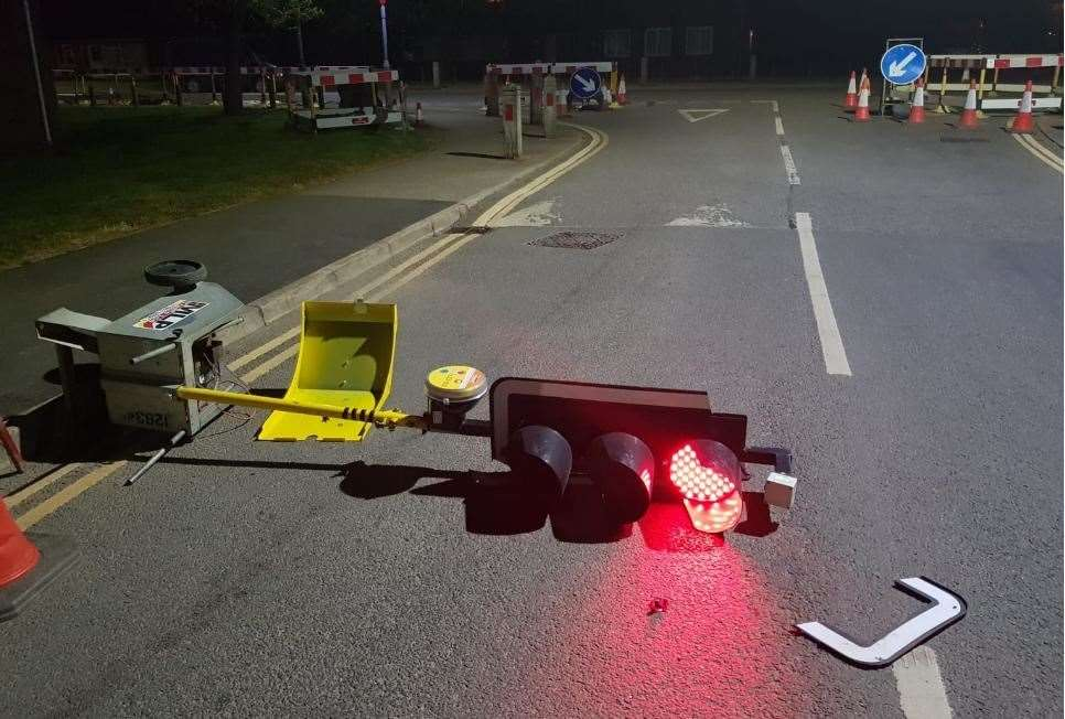 The temporary traffic lights were knocked down on Columbia Way in King's Lynn. Picture: King's Lynn Police