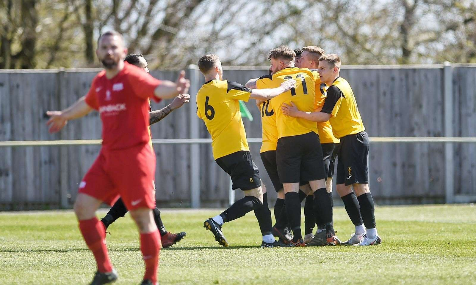 Fakenham Town players celebrate their second goal. Picture: Ian Burt. (46277379)