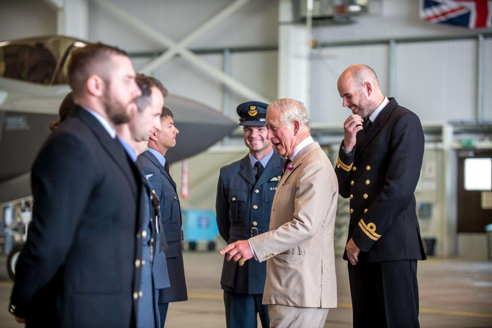 HRH The Prince of Wales visits RAF Marham to see the new F35 Lightning II aircraft of 617 Squadron. HRH Prince Charles meets RAF and Royal Navy personnel.. (3315076)