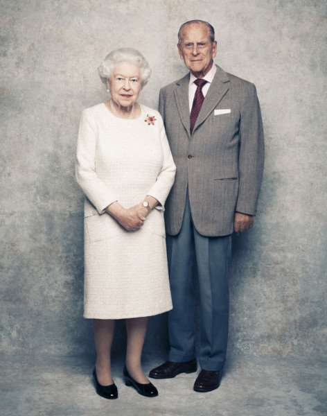 EDITORIAL USE ONLY MANDATORY CREDIT REQUIRED'THIS IMAGE IS INTENDED TO BE USED AS ONE OF A SEQUENCE OF THREE IMAGES.'(this is the first in the sequence.)''Handout photo issued by Camera Press of Queen Elizabeth II and the Duke of Edinburgh by British photographer Matt Holyoak, taken in the White Drawing Room at Windsor Castle in early November, pictured against a platinum-textured backdrop, in celebration of their platinum wedding anniversary on November 20. PRESS ASSOCIATION Photo. Issue date: Monday November 20, 2017. The Queen is wearing a cream day dress by Angela Kelly and a 'Scarab' brooch in yellow gold, carved ruby and diamond, designed by Andrew Grima, and given as a personal gift from the Duke to The Queen in 1966. See PA story ROYAL Anniversary. Mandatory credit must read: Matt Holyoak/CameraPress/PA Wire ''IMPORTANT NOTE :'Publishers are requested to use the sequence of pictures, in the first instance, as provided.'IMAGE IS PROVIDED FOR FREE EDITORIAL USE UNTIL DECEMBER 3RD. WHEN IT MUST BE REM