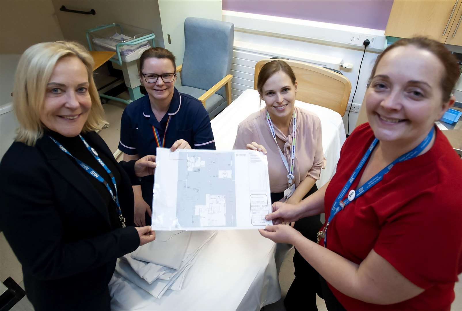 Charity of The Year Plans for the New Maternity Unit Bereavement Suit. Pictured FLtoR Caroline Shaw (Chief Executive) QEH. Sharon Young. Kathryn Owen. Kate Jackman.. (27949086)
