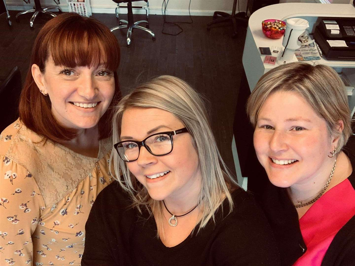 Flix Hair Design of Fakenham colleagues Sarah Hewitt, Donna Fuller and Emma Beaumont who are raising funds for King's Lynn's Queen Elizabeth Hospital's stroke unit. Picture: SUBMITTED. (8113431)