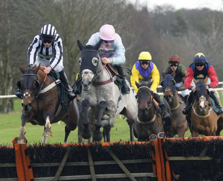Fakenham Racecourse New Year's Day Meeting 1st Jan 2018'3rd Race action (The North Norfolk Handicap Hurdle Race Class 3)