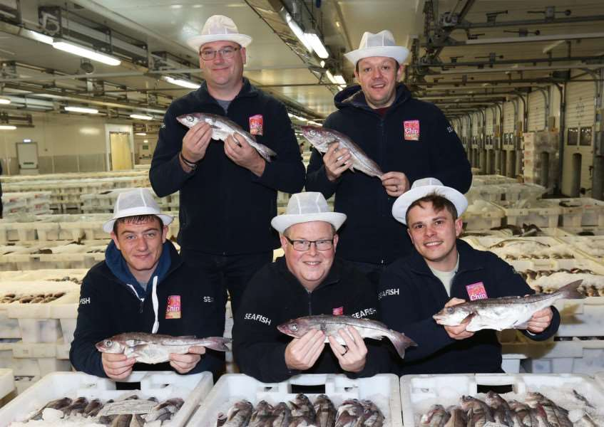 Fish and Chip Award Finalists visit Peterhead. Craig Blythe, of Eric's Fish and Chips is in the front, far right.