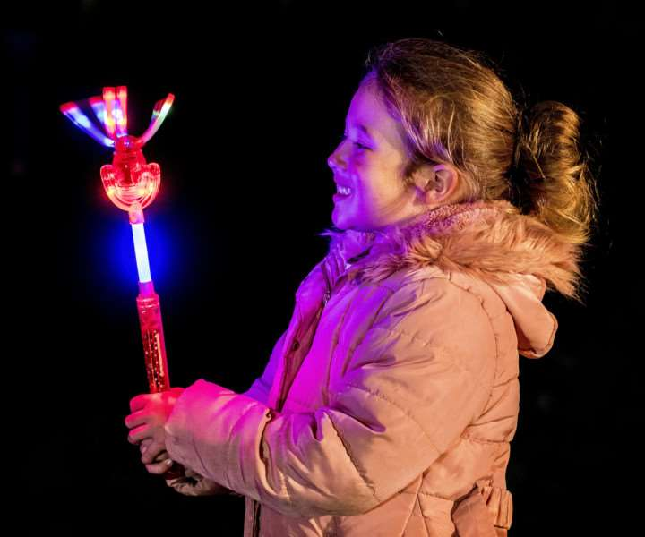 "Scenes from the Fawkes in The Walks 2017 firework display in King�""s Lynn - Elodie Blackmore (5) with her light up wand."