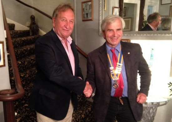 Former Downham Rotary Club president Bob Linford, left, with new president Martin Chilvers. Photo: submitted.