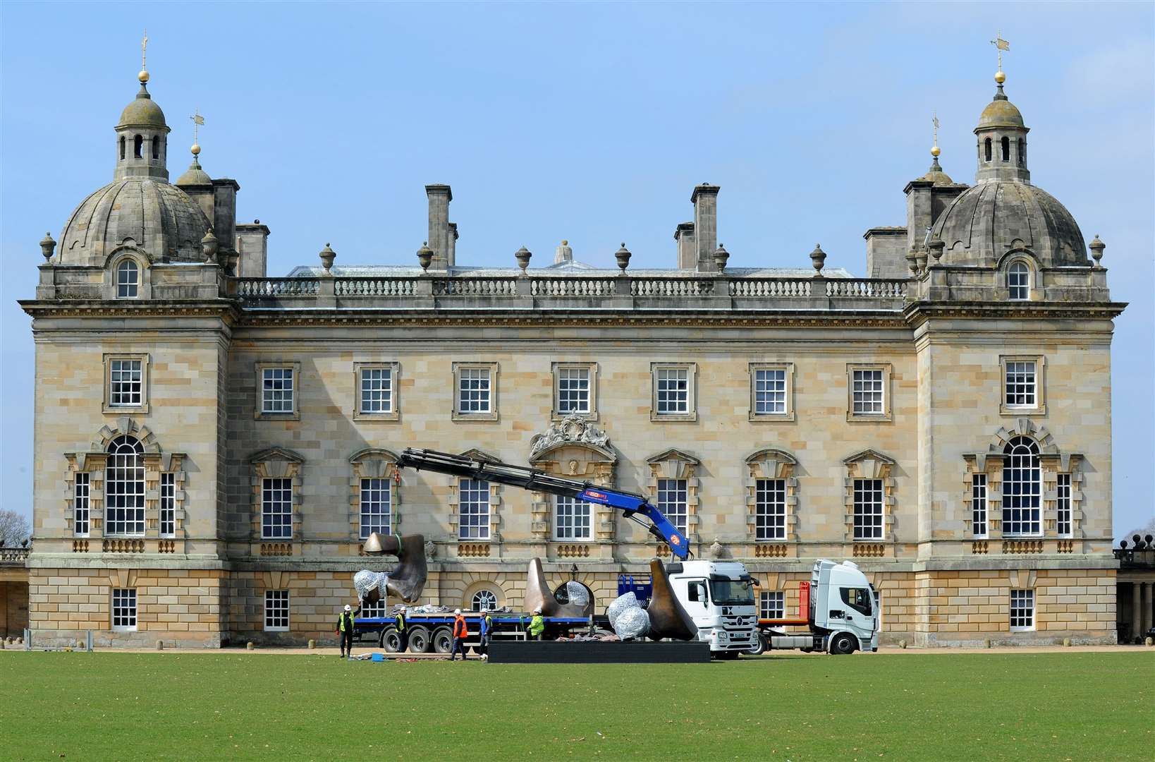 Work going on at the East side of Houghton Hall. MLNF-19PM04075