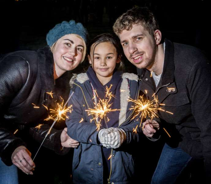 "Scenes from the Fawkes in The Walks 2017 firework display in King�""s Lynn - From left, Carrie Day, Katelyn Tsang (9) and Joshua Kittle."