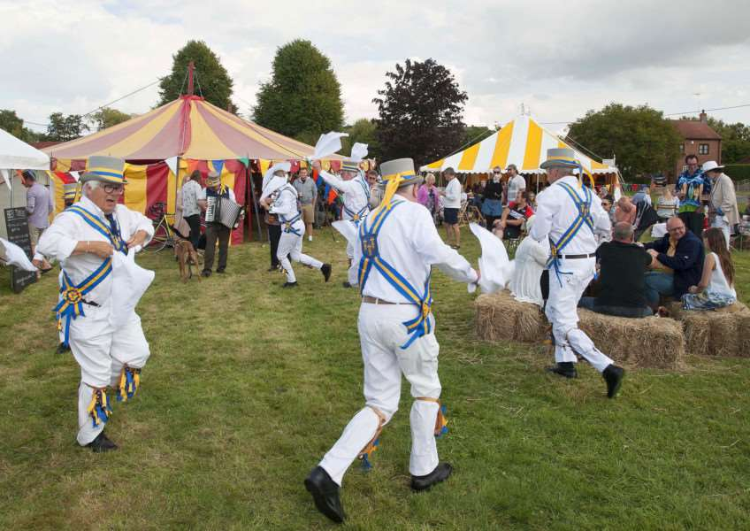 Festival at The King's Arms Shouldham. Pictured performing King's Morris Dancers'
