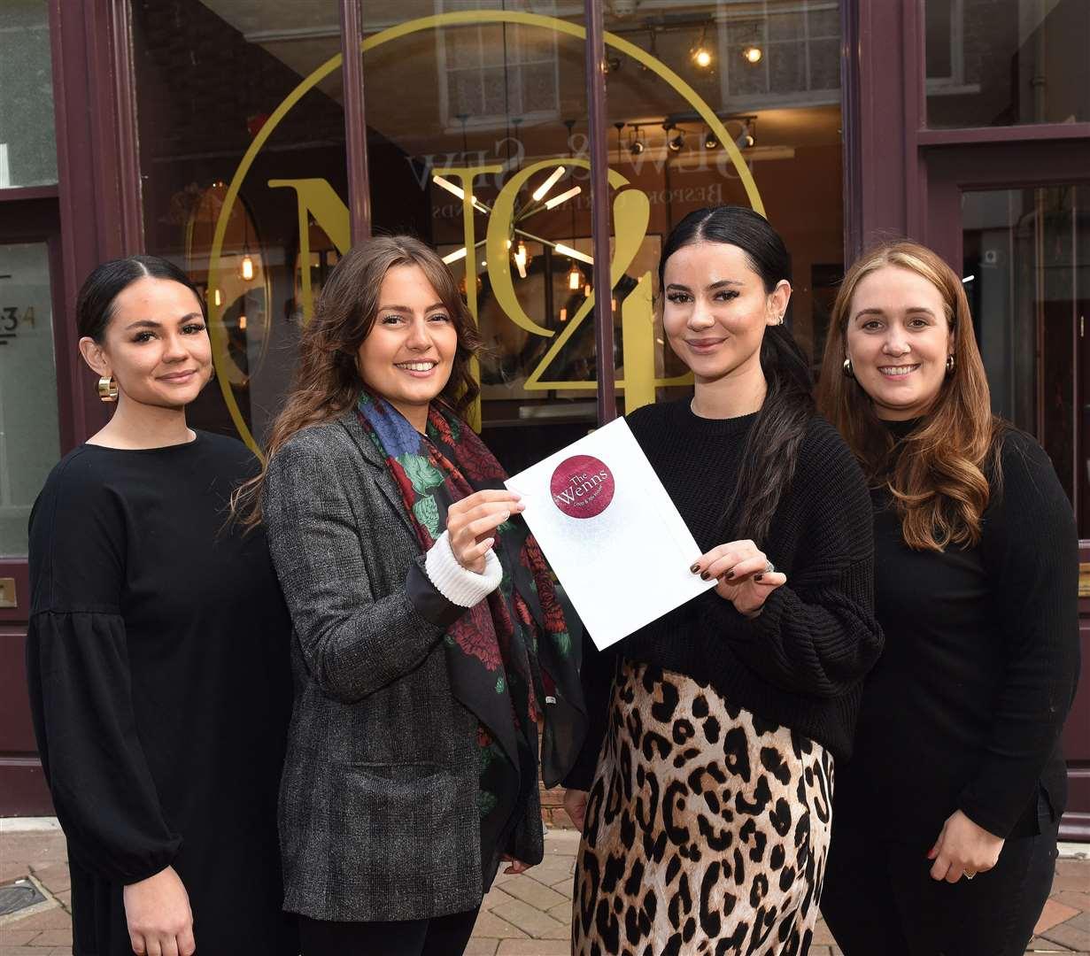 At Hair and Beauty Salon No4, from left to right, Abbi Pochetty, Ilaria Pezzella, Becky Pochetty and Charlotte Watson.  MLNF-21PM10048