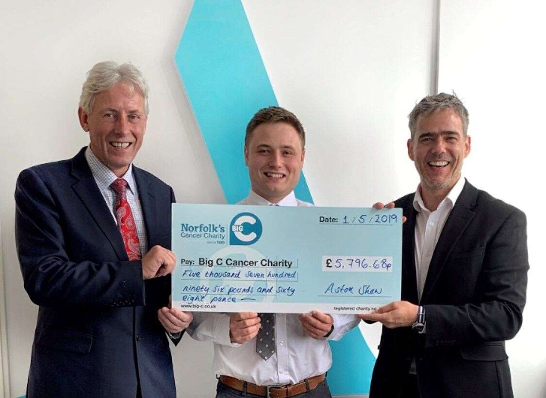 Pictured, from left, Dr Chris Bushby, Chief Executive of Big C; Charlie Maylin, Marketing Executive at Aston Shaw and Dominic Shaw, Director of Aston Shaw (9890751)