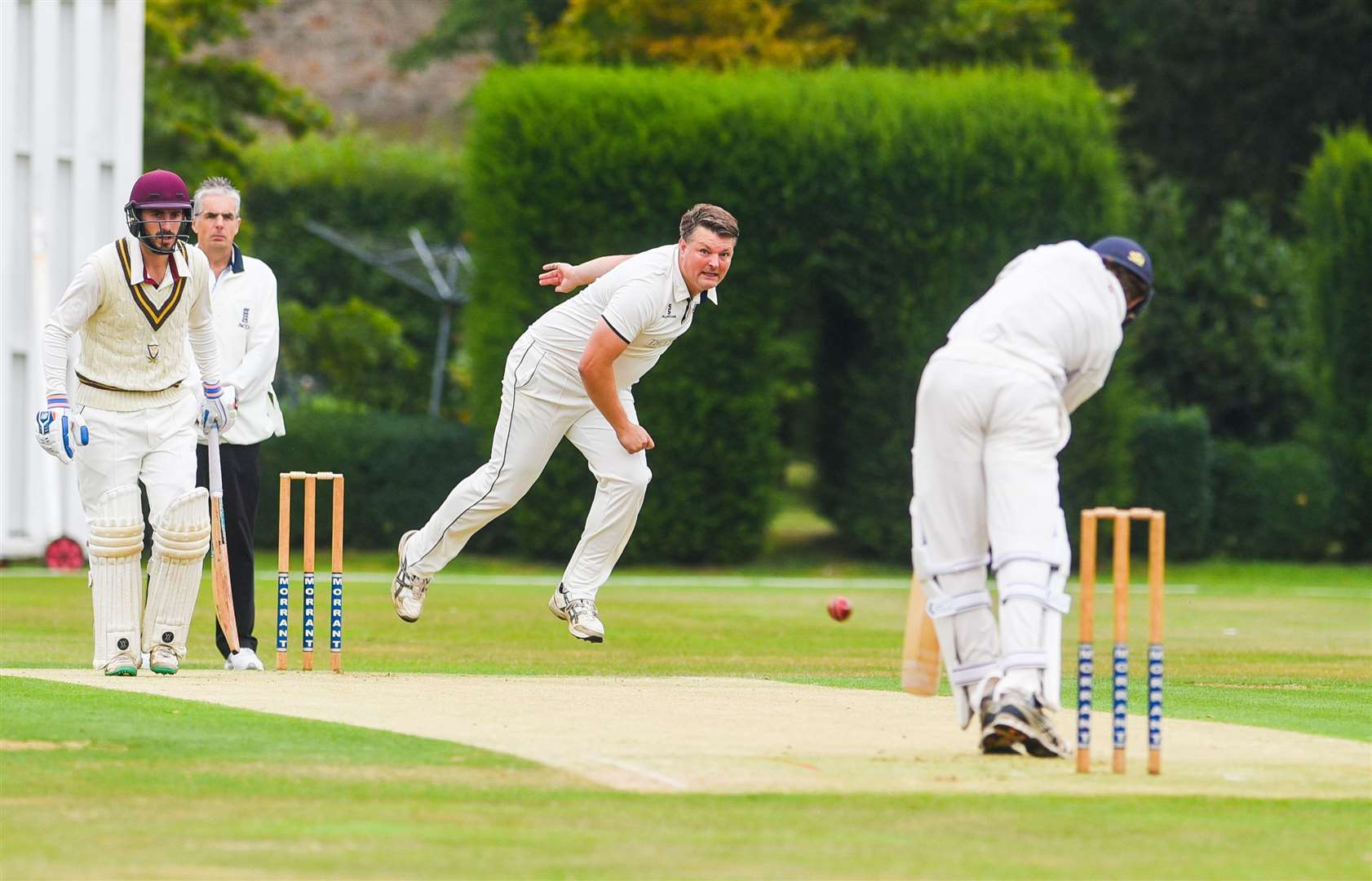 Cromer's fast bowler Paul Bradshaw in action.. (40632424)