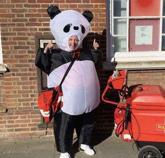 Sammy Stimpson who is wearing an inflatable panda suite while delivering post in Downham Market to raise money for the Mental Health Foundation. Picture: SUBMITTED. (34426862)