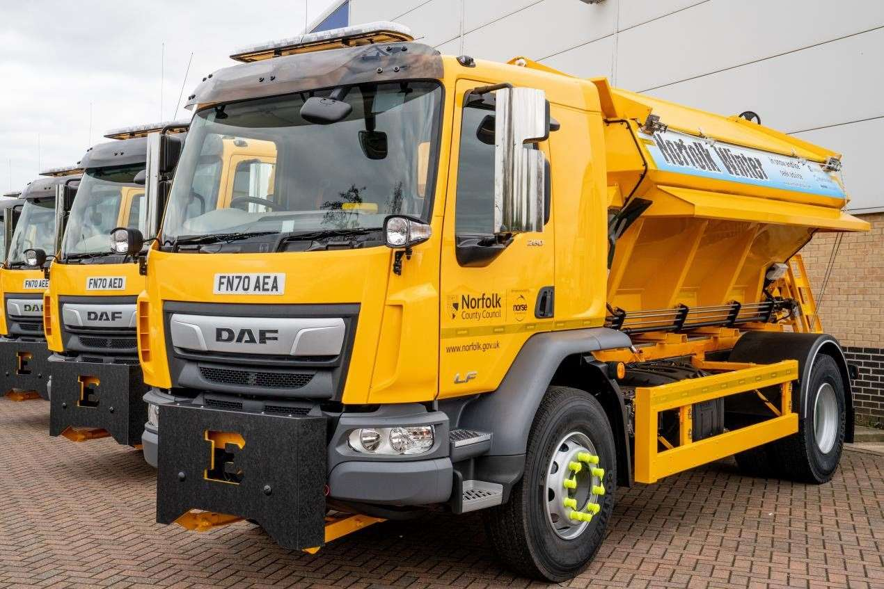 The new gritting trucks among Norfolk County Council's fleet of 48 (42976134)