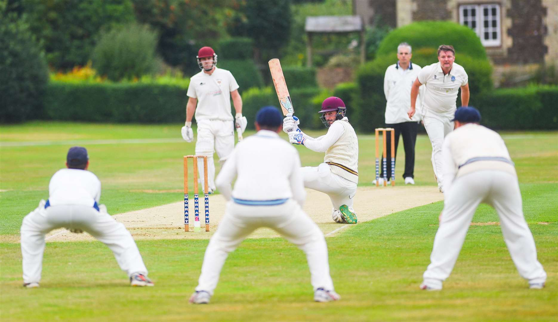 Keith Thomson watches the ball heading towards the Cromer wicket keeper, Oliver Kimber.. (40632548)