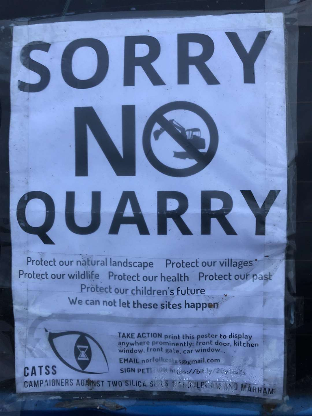 Sorry No Quarry sign regarding proposals for silica sand extraction on land between Marham and Shouldham. (4807323)
