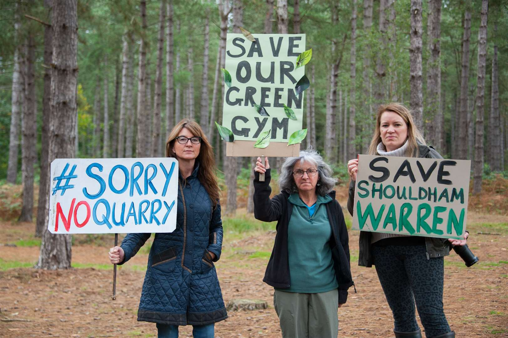 At Shouldham Warren for the CATSS protest against the silica sand quarry are (LtoR) Maria Purvis, Sharon Ludford and Liz Brewer.. (19133249)