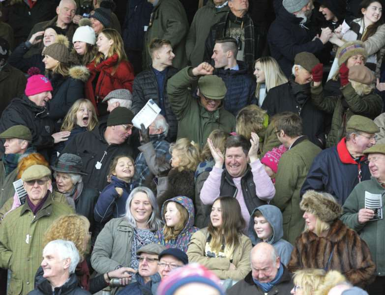 Fakenham Racecourse New Year's Day Meeting 1st Jan 2018'A Packed main stand enjoying the race day