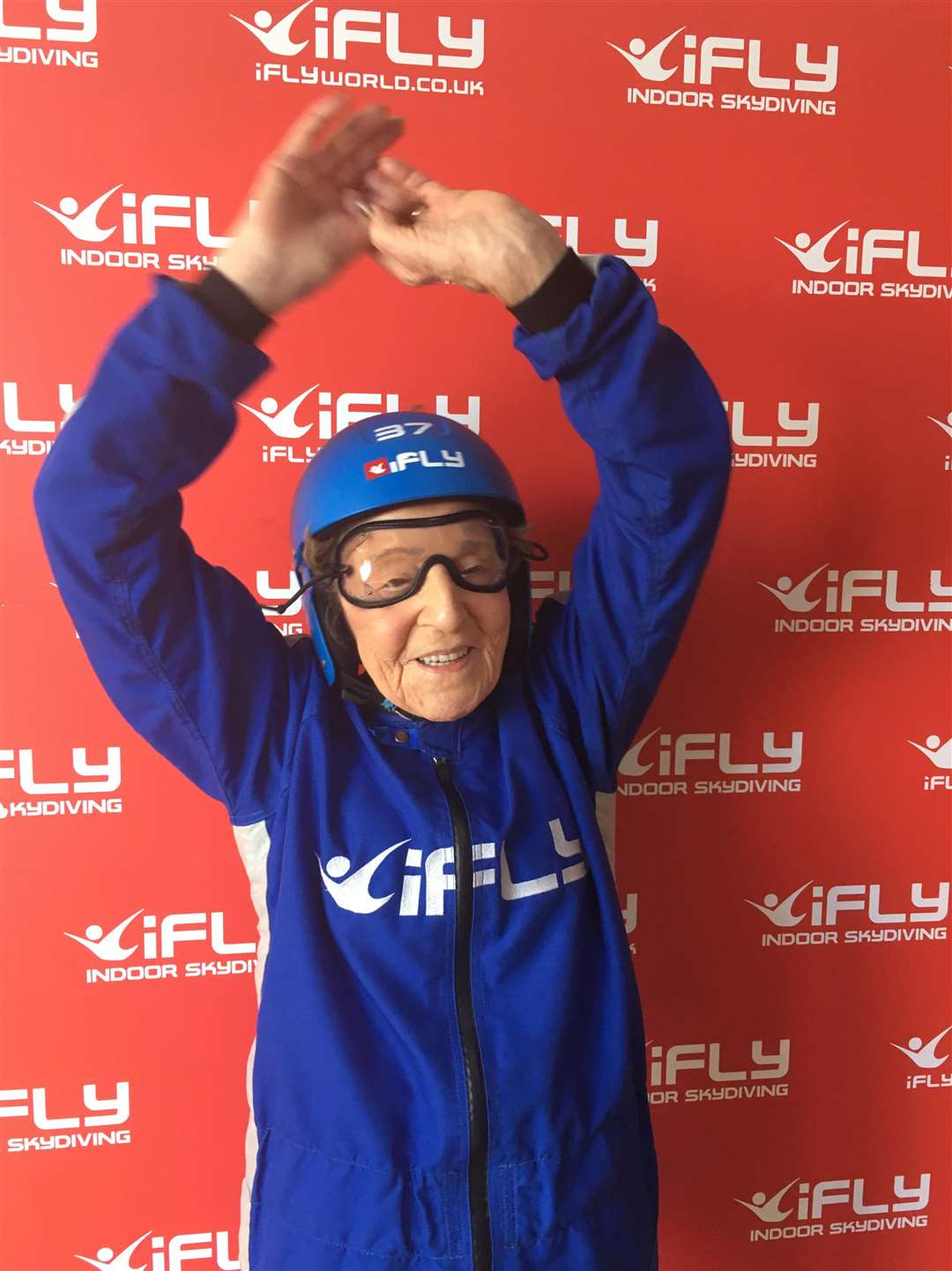 Joan Phillips celebrates 99th birthday with indoor skydive (4529341)