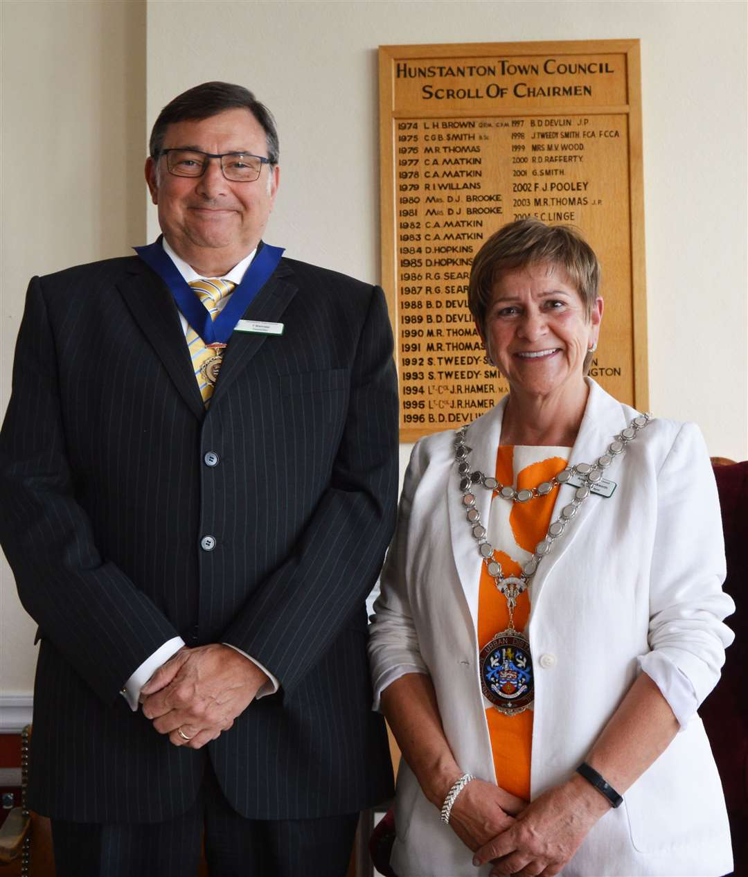 Tony Bishopp, left, paid tribute to his predecessor Amanda Bosworth, right, as he took the role of Hunstanton mayor