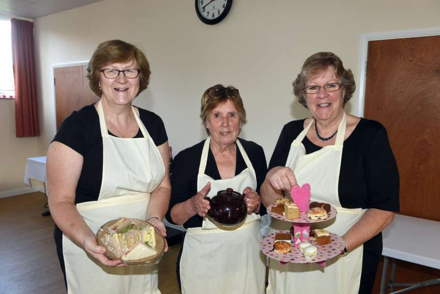 Afternoon tea party at Tilney All Saints village hall''left to right Joy Coombs, Val Grange and Glenys Benson