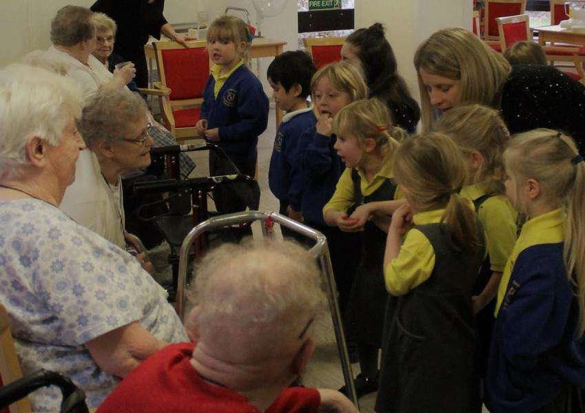 Anthony Curton Primary School students with Burman House Care Home residents