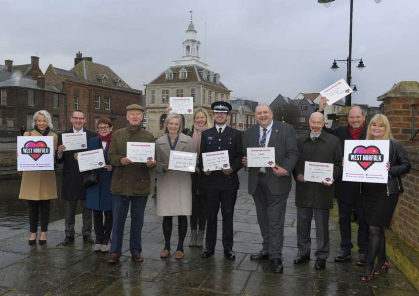 Love West Norfolk Campaign Launch at the King's Lynn Custom House and Bank House'Loving West Norfolk LtoR, Sarah Dennis, David Pomfret, Wendy Thomson, Sir Henry Bellingham, Elizabeth Truss, Jo Maule, Supt David Buckley, Brian Long, Ray Harding, Tony Hall, Sharon Clifton.