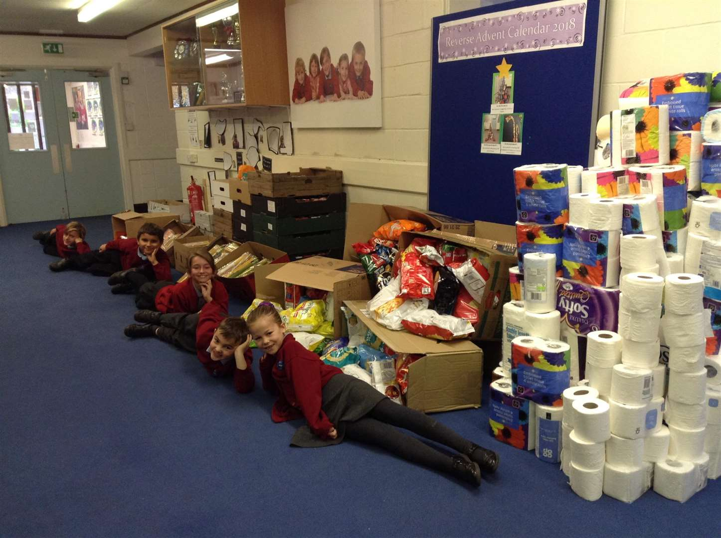 Hillcrest Primary School pupils with some of the 1.1 tonnes of produce they have donated to the food bank. Picture: SUBMITTED. (6122622)