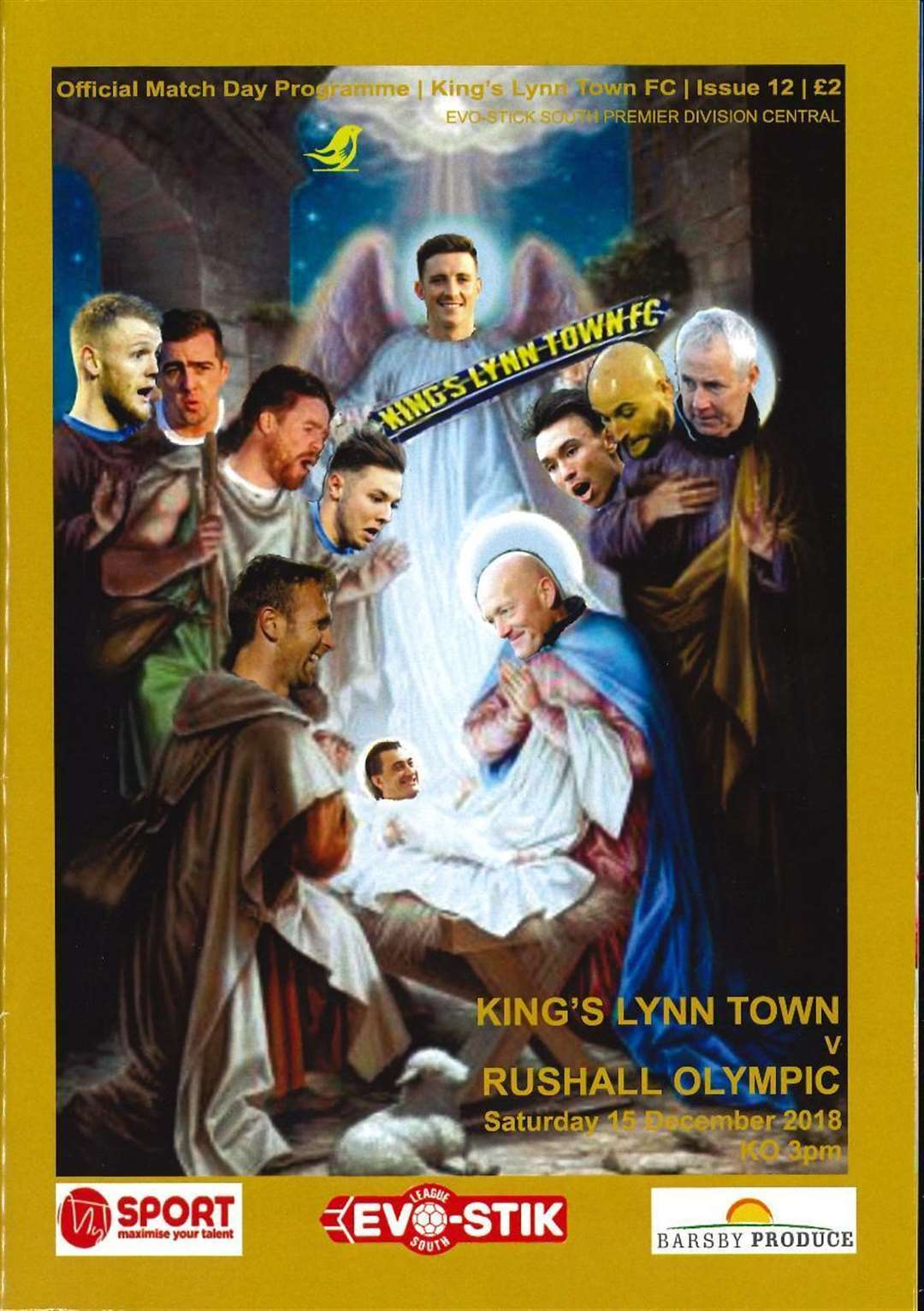The programme cover depicting King's Lynn Town players and officials as characters in the Christmas story (6211440)