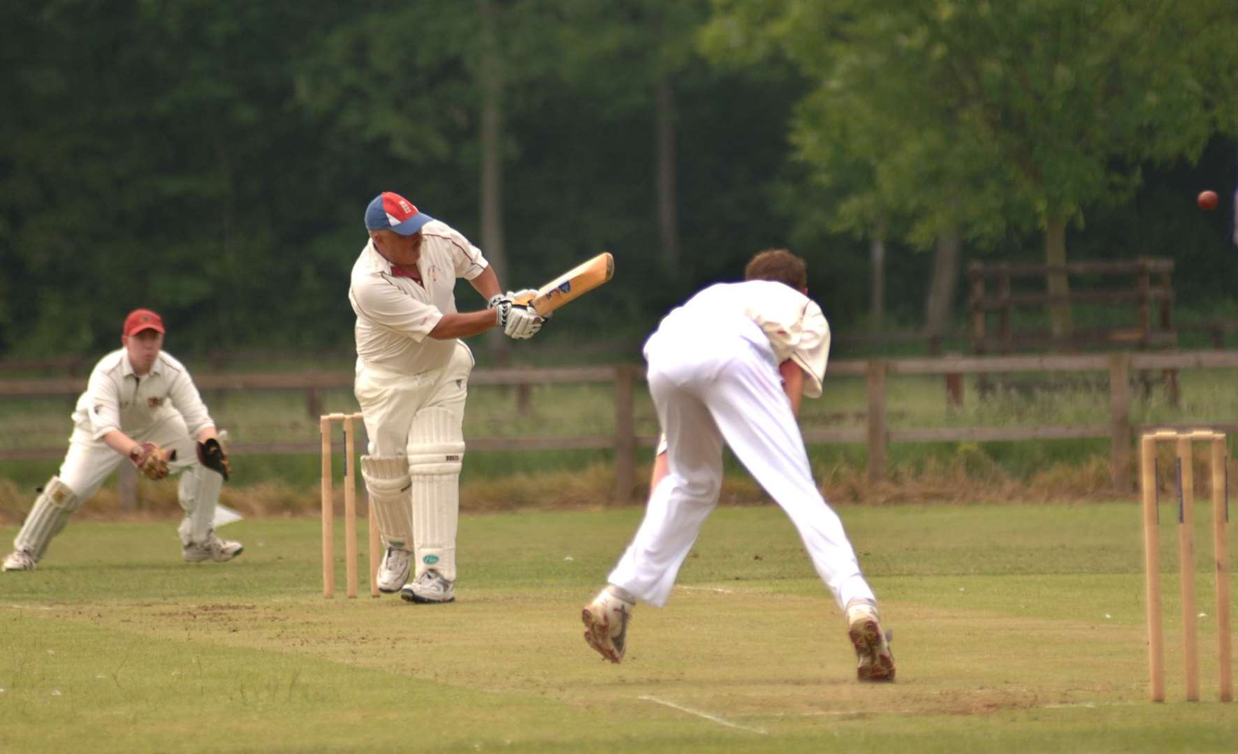 Hillington's Andrew Jarvis clips a ball from Fakenham's Simon Prior to the leg boundary for four. (36802098)