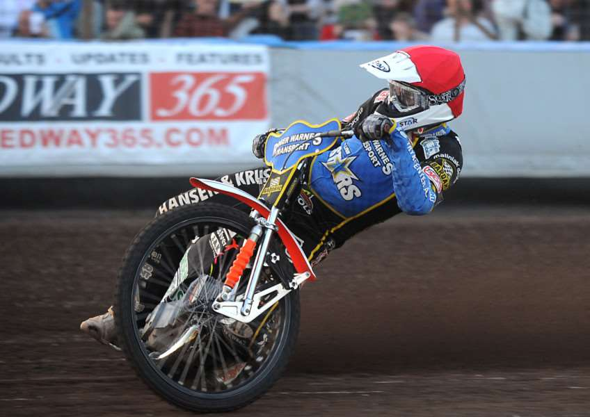 Lynn Stars at home to Poole Pirates at the Norfolk Arena on Friday night. Heat 4 winner - Niels-Kristian Iversen.