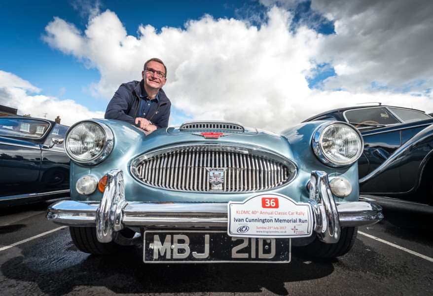 Drivers met on the Tuesday Market Place before leaving on the King's Lynn Classic Car Rally on Sunday Morning - Conrad Bos with his Austin Healy 3000 MKIII.